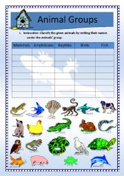English Worksheet: Science: Animals Classification (Updated w/ Key)
