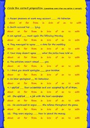 Verbs followed by prepositions - 1/2