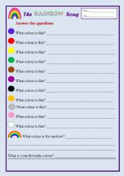 English Worksheet: Colours of the Rainbow
