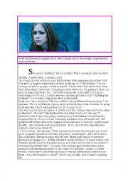 English Worksheet: Avril Lavigne