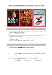 English Worksheet: Must-Reads from Around the World, June 29, 2012