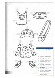 English Worksheet: Paper doll clothes 1