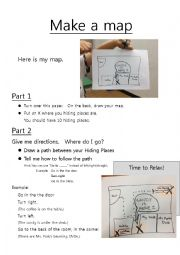 English Worksheet: Make a Map (Scavenger Hunt, Part 3)