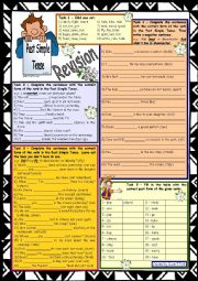 English Worksheet: Past Simple Tense Revision * 9 tasks * with key * upper-elementary