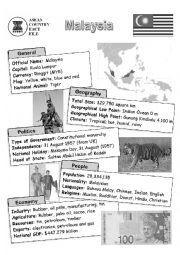 English Worksheet: ASEAN nations fact file - Malaysia