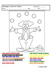 English Worksheets: Clown for Painting