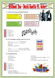 English Worksheet: WITHOUT YOU - DAVID GUETTA FT. USHER