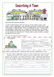 English Worksheets: Describe a Town (easy)