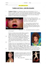 English Worksheet: Oral Exam / Test / Conversation: Toddlers and Tiaras