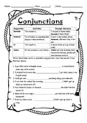 English Worksheet: Conjunctions, unless,therefore, however, because