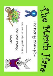English Worksheet: The March Hare Diploma 1st place