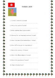 English worksheet:  Tunisia Quiz