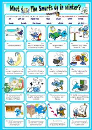 English Worksheet: The Smurfs daily routine third person singular