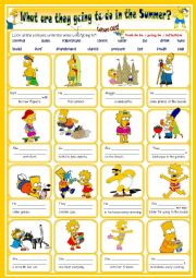 English Worksheet: what are the Simpsons´ plans for this summer  with