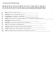 English Worksheets: Use the code to find the words