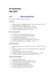 English Worksheets: PET FOR SCHOOLS ORAL PAPER