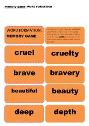 English Worksheet: Memory GAME on WORD FORMATION