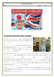 English Worksheets: The Queen�s Diamond Jubilee message (with Key)