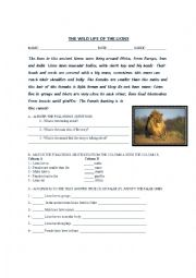English Worksheets: The wild life of the lions
