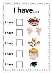English Worksheets: I have... /Body Parts