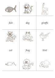 English Worksheets: Animal missing letters memo cards