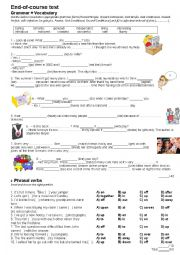 English Worksheet: Grammar+vocabulary test for Challenges 3