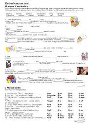 English Worksheet: Grammar+vocabulary test for Challenges 3