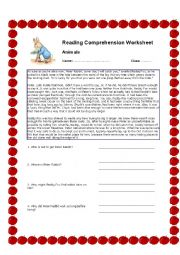 Peter Rabbit - Reading Comprehension Worksheet
