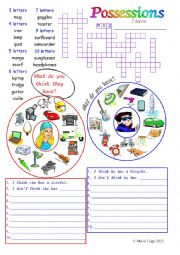 English Worksheets: Possessions: in colour and greyscale with key