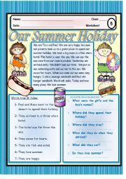 English Worksheet: Our Summer Holiday