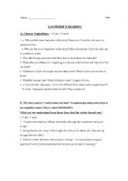 English worksheet: exam a summer´s reading