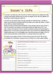 English Worksheets: SUSAN´S LIFE. YOLANDA