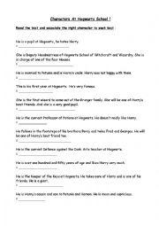 English Worksheets: Characters at hogwarts