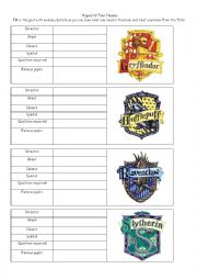 English Worksheets: Hogwarts� four Houses