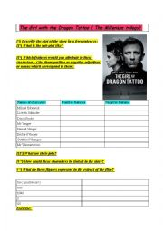English Worksheets: Film : The girl with the dragon tattoo ( Millenium)