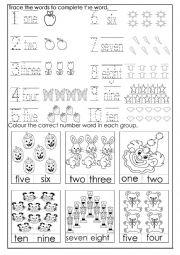 English Worksheet: Numbers 1- 10