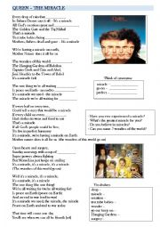 English Worksheets: Queen - The Miracle