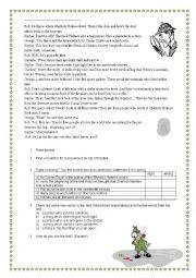 English Worksheet: Sherlock Holmes: text- reading comprehension + tasks