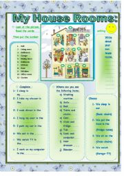 English Worksheets: Rooms Of  My House.