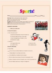 English Worksheet: Reading; Sports, Chilean Football Team