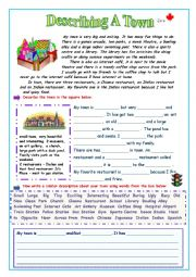 English Worksheets: Describing a Town