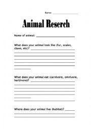 English Worksheets: Animal Research Sheet