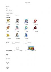 English Worksheets: This is me - part 1