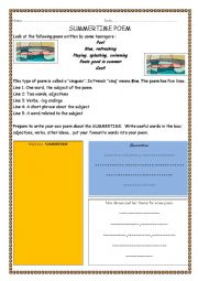 English Worksheet: SUMMERTIME POEM