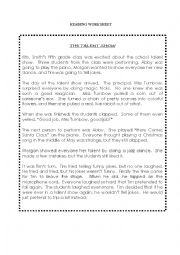 English Worksheets: Reading Worksheet - The Talent Show