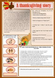 English Worksheet: Text - A Thanksgiving story