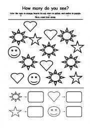1st grade, Kindergarten Math Worksheets: Count how many | GreatSchools