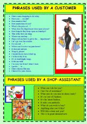 English Worksheet: Phrases used by a CUSTOMER/SHOP-ASSISTANT