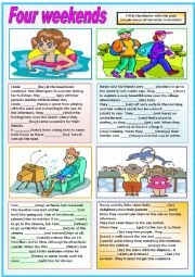 English Worksheets: FOUR WEEKENDS (PAST SIMPLE) READING- ANSWERING QUESTIONS AND EXERCISES (TWO  PAGES)