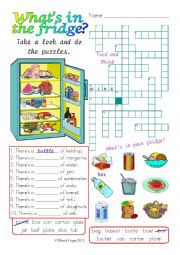 English Worksheet: What�s in the fridge?: colour and greyscale with answer key
